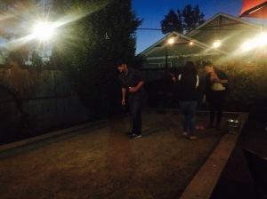 Bocce Ball at night.